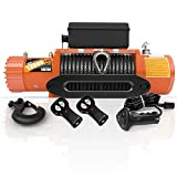 ORCISH 12V 13000-lb Load Capacity Electric Truck Winch Kit Synthetic Rope, Waterproof Off Road Winch for Jeep,Truck,SUV (Black Synthetic Rope)