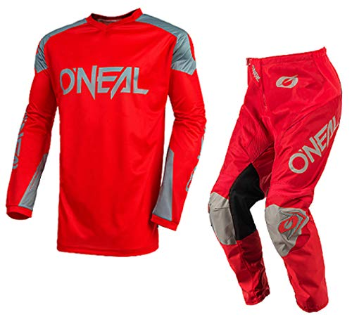 2019 ONEAL MATRIX Adult MX Motorcycle ATV Quad Dirt Bike Enduro Motocross Gear Protective Clothing Off Road Race Suit (RED) - RED : TOP (S) - PANT : 32 inches