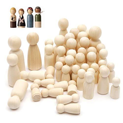 50 Stück Holzfiguren Malen Holz Unvollendete Holzpuppen Natur Spielfiguren Figuren Holzfiguren Spielfiguren Holz Natur Holz Figurenkegel Familie Figuren für Geburtstag Dekoration Bemalen Basteln