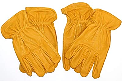 Premium Grade Cowhide Leather Work Glove KINCO 198 with Palm Patch and Reinforced Stitching on the Back of the Hand. Gloves for Men 2-Pack