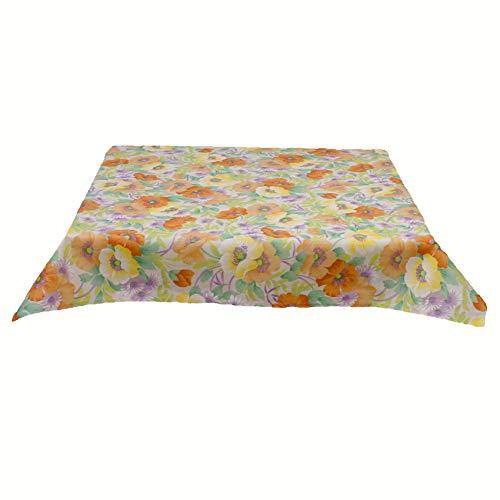Hans-Textil-Shop Outdoor Tischdecke Blumen - Wasserabweisend, Schmutzabweisend (80x80 cm, Orange)