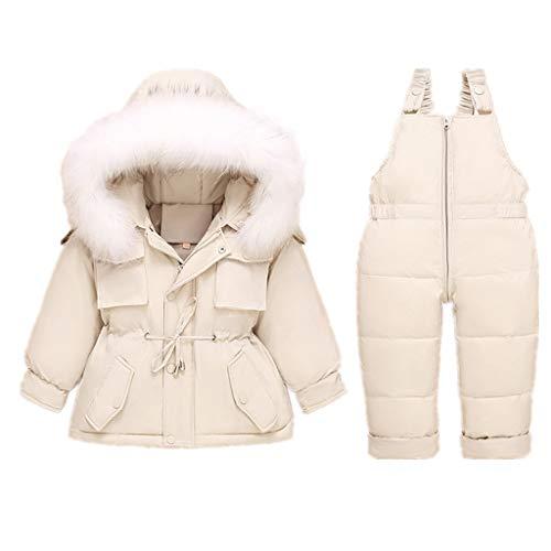 Vine Bambino Tuta da Sci Piumino con Cappuccio + Pantaloni da Sci Bambini 2 Pezzi Set Tuta da Neve Invernale Completo Salopette da Sci Caldo Giacca Cappotto Snowsuit, 3-4 Anni