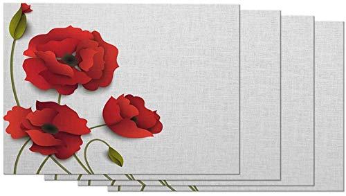 aipipl Manteles Individuales Florales Rose 3D Origami Shadow Elegant Craft Flower Love Beautiful Luxury Bud Manteles Individuales para Mesa de Comedor Juego de 4 Cocina Lino de algodón de 12 x 18 p