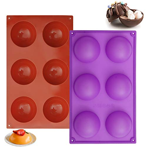 2.64' Silicone Hot Chocolate Bomb Mold Large Size Baking Molds for Making Cake, Jelly, Dome Mousse, Pudding, Candy, Handmade Soap Mould, Remove Easily (2 Pcs)