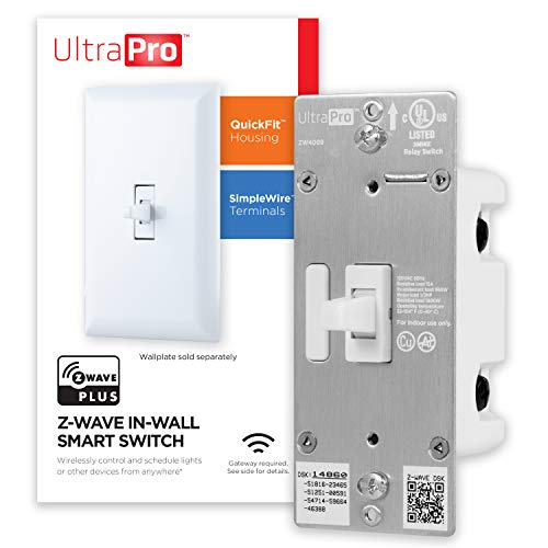 UltraPro Z-Wave Plus Smart Light Switch, in-Wall Toggle | Built-in Repeater Range Extender | ZWave Hub Required-Alexa and Google Assistant Compatible, 39354 , White