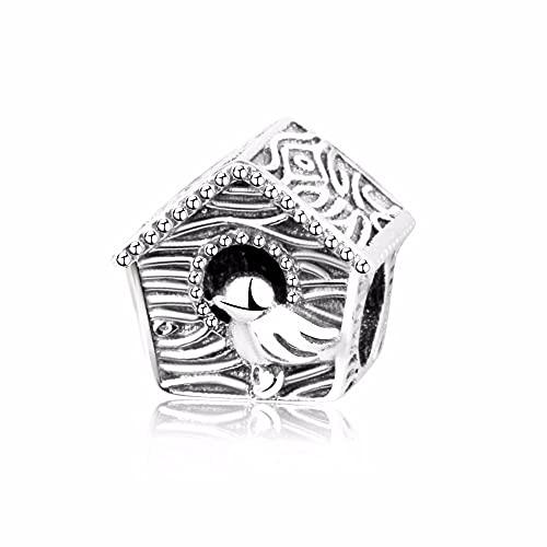 LIIHVYI Pandora Damen Charms 925 Sterling Silber Frühling Vogelhaus Schmuck Vintage Für Pandora Und Andere Europäische Armbänder & Halsketten