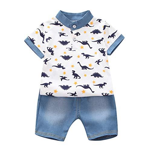 Fossen Ropa Bebe Niño Verano 2021 - Camiseta Manga Corta de Estampado de sandía Oso y Vaqueros Corto - para 0-24 Meses Recien Nacido Bebé - Conjunto de Dos Piezas (0-6 Meses, Blanco)