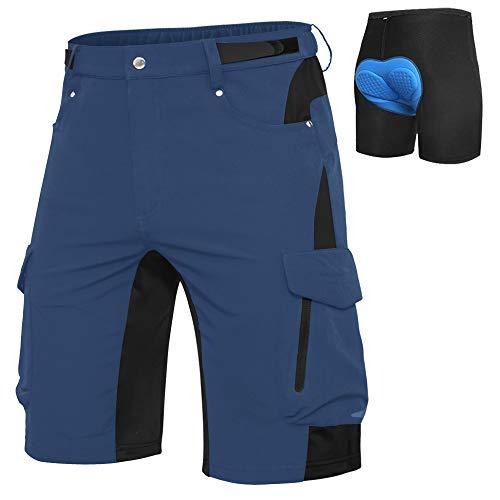 Cycorld MTB Hose Herren Fahrradhose, Schnelltrocknende MTB Shorts Herren Mountainbike Hose Baggy Bike Shorts, Atmungsaktiv Radhose mit Verstellbaren Klettverschlüssen (Indigo+Blaue Pad, XXL)