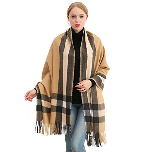 Longwu Donna Morbida sciarpa in lana di cashmere Grande scalda Pashminas e avvolgente coperta con stola calda-Camel3