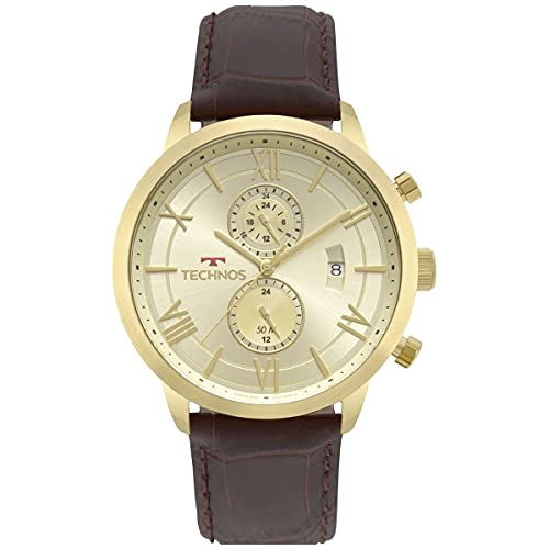 Relógio Technos, Pulseira de Couro, Masculino Marrom JP11AD/4X