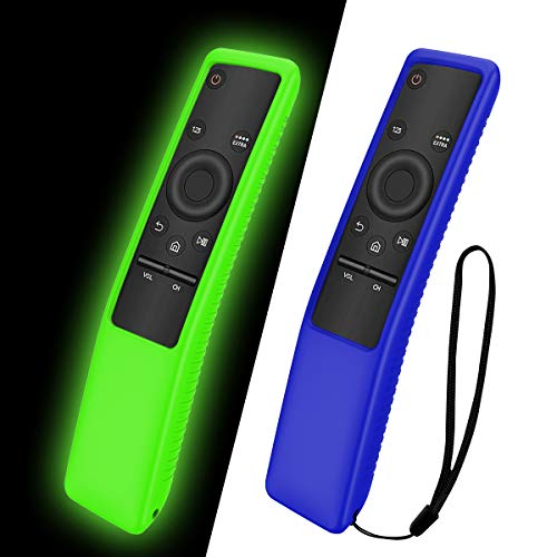 TOLUOHU 2PCS Silicone Protective Case for Samsung Smart TV Remote Controller BN59 Series, Light Weight Kids-Friendly Silicone Cover Anti-Slip Shockproof Anti-Lost with Hand Strap(Blue+Green)