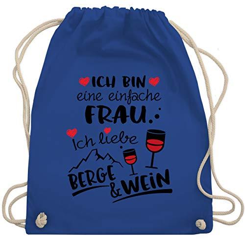 Après Ski - Einfache Frau - Berge & Wein - schwarz - Unisize - Royalblau - Wanderung - WM110 - Turnbeutel und Stoffbeutel aus Baumwolle