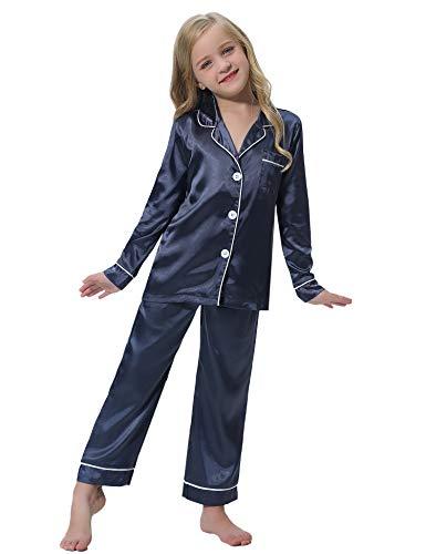 Hawiton niña Conjunto de Pijama de satén de Seda con Botones 2-11 años, Camiseta de Manga Larga y pantalón Largo 2 Piezas Ropa de Dormir, con 3 Bolsillos