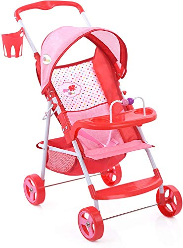 Little Mommy Doll Stroller (D83389) with Retractable Canopy - Little Cup Holder, Front Tray with Toy bar & footrest - Foldable for Easy Travel, Fits Dolls up to 24 inches, Age 3+