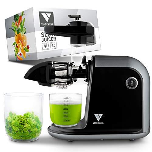 Vandenberg Slow Juicer - Estrattore di succo elettrico per verdure e frutta [150 W] - Spremiagrumi elettrico con funzione Reverse - Spazzola per la pulizia inclusa