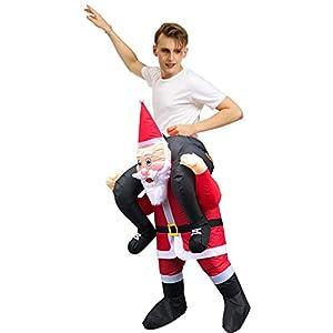 サンタクロース 着ぐるみ パーティーコスプレファン付き空気膨張 コスチューム 大人用 コスプレ 衣装 セット メンズ クリスマス パーティー (Christmas Reindeer)