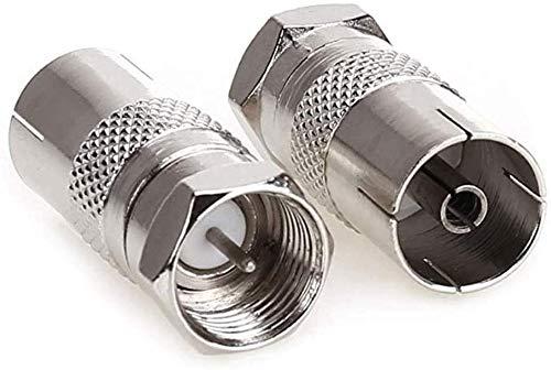 Adaptador de enchufe hembra RF a tipo F macho tipo F, de cobre tipo F macho a antena CATV TV FM PAL hembra RF coaxial adaptador conector para TV satélite DVR (plata)