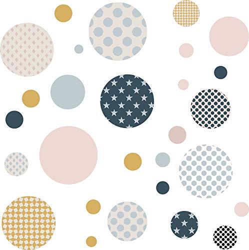 greenluup Wandaufklebe r70 Punkte Kreise Polka Dots Kinderzimmer Mädchen Junge Grau Blau Rosa skandinavisches Design Wandtattoo Klebepunkte Wandsticker Set Dots bunt selbstklebend