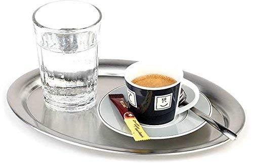 APS 30111 KAFFEEHAUS Oval matt poliertes Edelstahl Tablett mit Rollrand für Zucker und Sahne, 19 x 15 x 1 cm