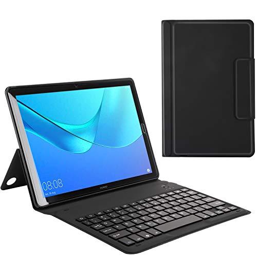 MoKo Huawei MediaPad M5 10.8 Bluetooth Tastatur Hülle - PU Leder Tasche Schutzhülle mit Abnehmbarer Wireless Bluetooth Keybord Case QWERTY Layout für Huawei MediaPad M5 10.8 Zoll Talet, Schwarz