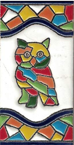 TORO DEL ORO Números casa. Numeros y Letras en azulejo. Ceramica esmaltada, Pintados a Mano técnica Cuerda Seca. Nombres y direcciones. Diseño Mosaico Mediana 5,5x10,5 cm (Búho)