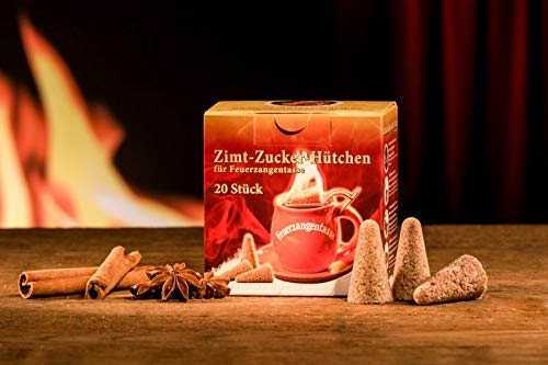Feuerzangentasse Zimt-Zucker-Hütchen (20 Stück) Original Zimt Zuckerhütchen für Feuerzangenbowle