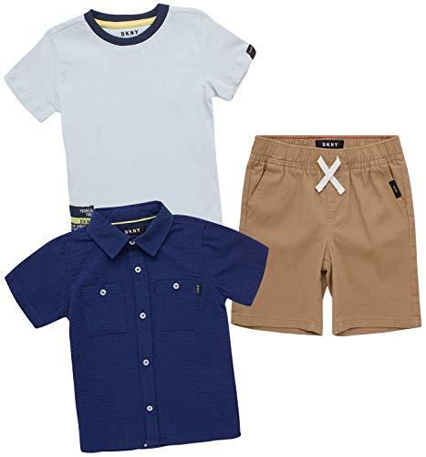DKNY Baby Boys' Shorts Set -3 Piece Short Sleeve T-Shirt and Button Down Collared Shirt and Khaki Shorts Set (Infant/Toddler), Size 12 Months, Dark Khaki