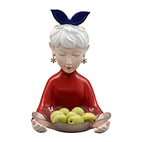 Nórdico Adornos De Bandeja De Joyería Bandeja Multifuncional De Almacenamiento De Frutas con Collar De Llaves Accesorios para El Hogar Regalos De Cumpleaños,Rojo