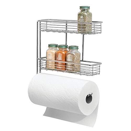 mDesign Portarrollos de cocina – Excelente dispensador de papel en metal con estantes para especias integrados – Práctico soporte de pared para rollo de cocina – plateado