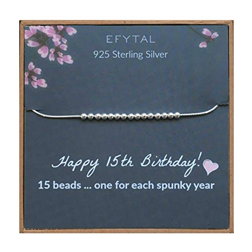 EFYTAL 15th Birthday Gifts for Her, Girls 925 Sterling Silver Bracelet, 15 Beads for 15 Year Old Girl, Quinceanera Gift