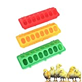 Rencongzhong 3 Sets Plastic Flip Top Poultry Feeder with 16 Holes on Floor No Mess No Waste for Small Poultry Pigeon Quails Chick Ducklings Birds,(Red,Yellow,Green)