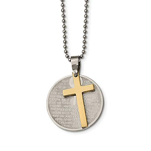Chisel Stainless Steel Brushed Polished Yellow IP Lords Prayer Religious Faith Cross Necklace 20 Inch Jewelry Gifts for Women