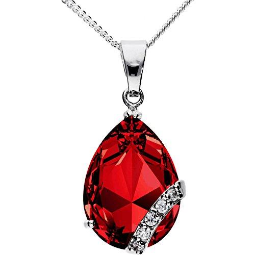 MYA art Damen Kette Halskette 925 Silber Geschenke Tropfen mit Ornament Anhänger Zirkonia Rot MYASIKET-40