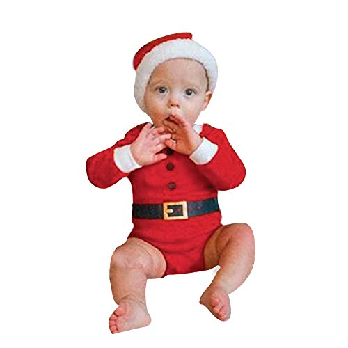 Baby Mädchen Jungen Weihnachten Kostüm Santa Elf Helper Print Cane Grtel Strampler...
