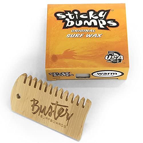 Buster Surfboards Sticky Bumps Original Surfboard Wax Set mit Surf Grip Surfwachs Bambus Waxkamm Temperatur Warm 17°C - 24°C | Anti-Rutsch Board Wachs mit Kamm