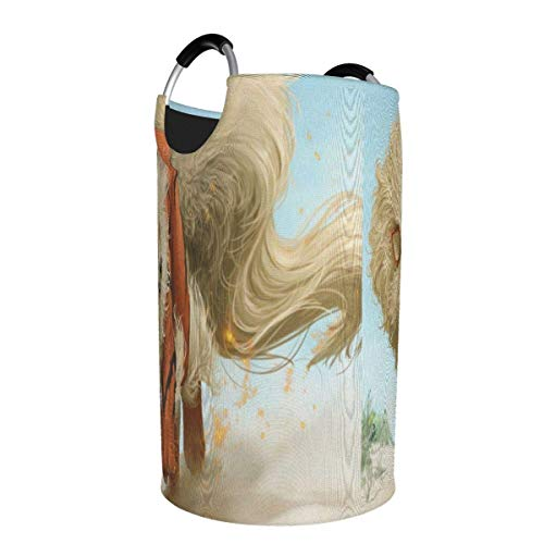 Ives Jean Collapsible Laundry Hamper Okami Cartoon Anime Laundry Basket 50l Large, Round Collapsible Fabric Laundry Hamper, Waterproof Foldable Clothes Bag, Travel Folding Washing Bin (L)