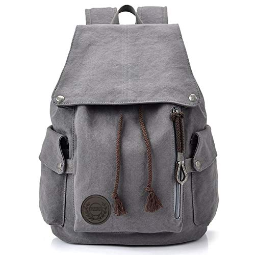 HOME•F Canvas Backpack Vintage Backpack Daypack for Men Women Laptop School Travel Rucksack (Grey)