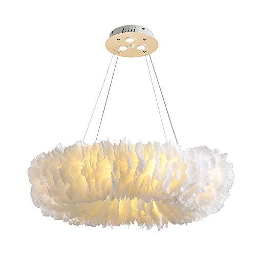 Luz pendiente de la pluma blanca, luz de techo moderna romántica iluminación pendiente, colgante del techo de la sala de la lámpara de la lámpara del accesorio para la decoración del dormitorio