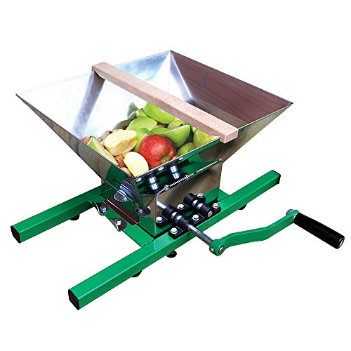 SQUEEZE master Obstmühle Apfelpresse Traubenmühle Maischemühle Fruchtbrecher Pulper Mühle mit Handkurbel für Apfelwein, 7 L(Edelstahl)