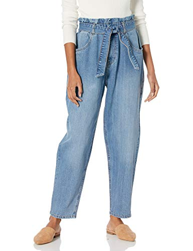 The Drop Women's Casey Elastic High-Waist Belted Tapered Jean