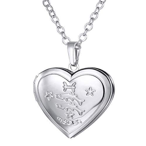 ZAOPP Locket Necklaces 12 Constellations/Zodiac Heart Pendant Chain Men/Women Jewelry Necklace Accessories (Color : Pisces Silver Color)