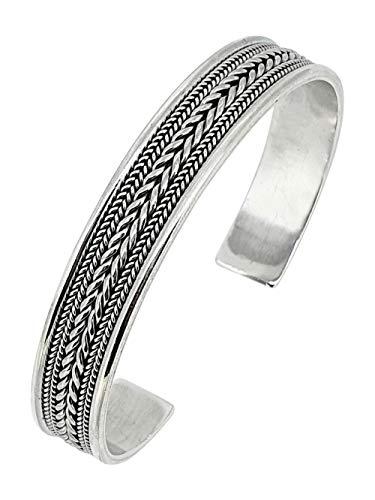 TreasureBay - Bracciale rigido da uomo in argento Sterling 925 massiccio con dettaglio a catena