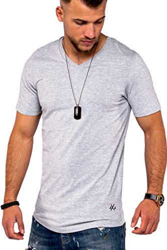 JACK & JONES Herren V-Neck T-Shirt Infinity Oversize Longshirt Basic Casual Modern (M, Light Grey Melange)