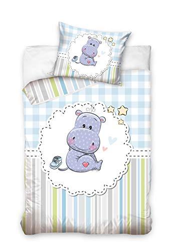 Carbotex Kleines Nilpferd - Baby Bettwäsche für Jungen, Wendebettwäsche, Bettbezug 100x135 cm & Kissenbezug 40x60 cm, 100% Baumwolle