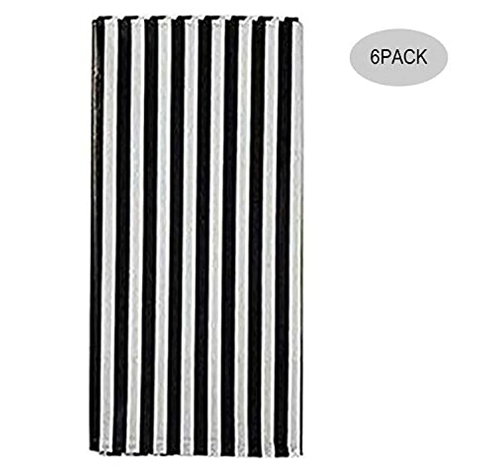 Yansanido Plastic Picnic Party Tablecloth,6 Pack Plastic Picnic Tablecloth 54 Inch. x 108 Inch. Rectangle Table Cover (Black White Stripe)