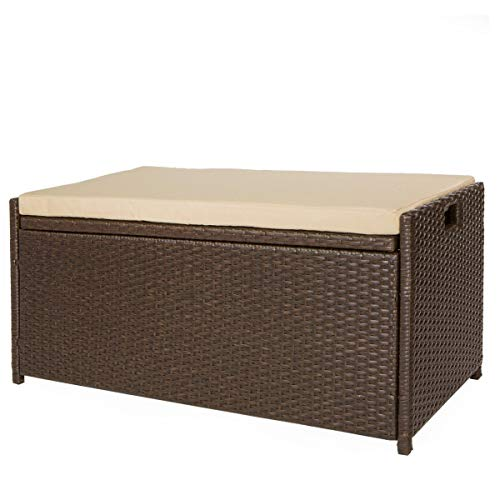 Victoria Young Resin Wicker Deck Box Storage Bench Container with Seat and...