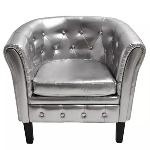 vidaXL Chesterfield Sessel Silber Loungesessel Polstersessel Clubsessel Büro