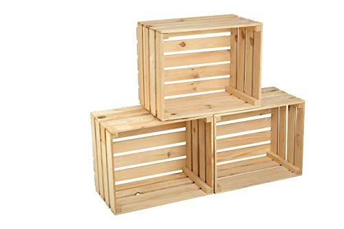 GrandBox Set de 3 Natural-Box Caja de Madera flameada, Caja de Vino, Caja de Frutas, Caja Decorativa,Vintage Shabby Chic Retro, Caja de leéa