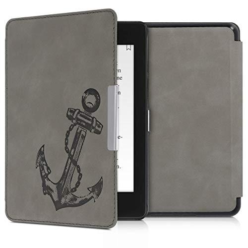 kwmobile Schutzhülle kompatibel mit Amazon Kindle Paperwhite (10. Gen - 2018) - Hülle Kunstleder eReader - Anker Vintage Grau