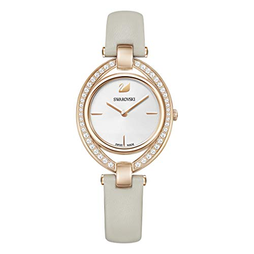 Swarovski Stella Uhr, Lederarmband, grau, Rosé vergoldetes PVD-Finish